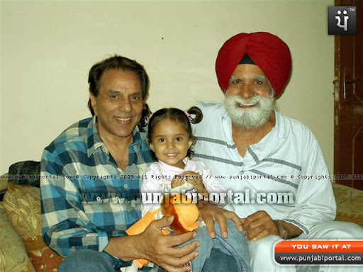 Dharmendra Deol with the Author and author's grand daughter Parneet