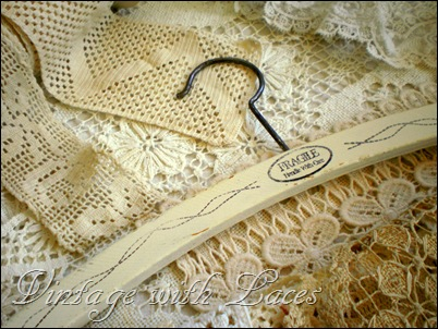 Painted and Stamped Clothes Hangers by Vintage with Laces
