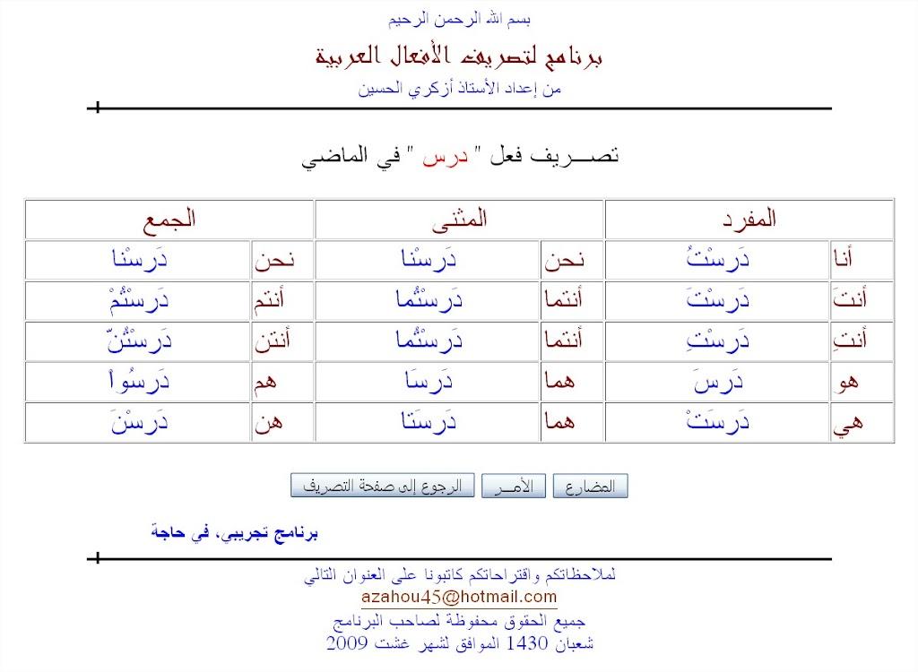 Verbs List Past Tense Irregular Verbs Arabic Verb Conjugation Chart ...