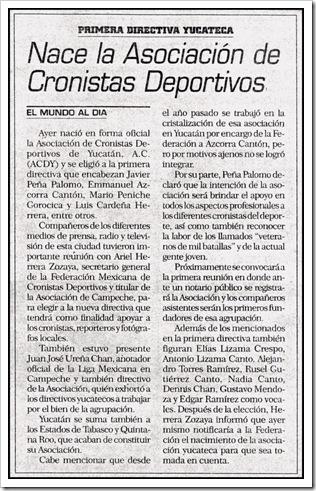 Nota El Mundo - nueva asociación de cronistas deportivos 24-01-2002