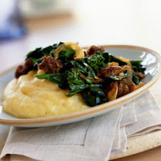 Chinese Broccoli with Sausage and Polenta