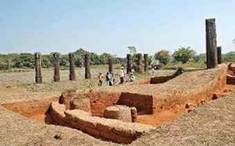 Excavation work in progress at the ancient city of Sishupalgarh in Orissa.