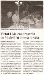 Víctor Maicas presenta en Madrid su última novela