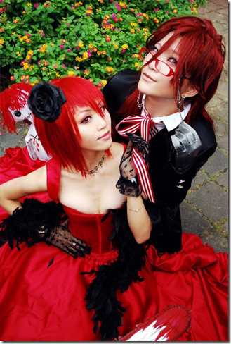 kuroshitsuji / the black butler cosplay - madam red / angelina durless and grell sutcliff