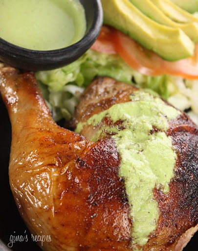 Peruvian Roasted Chicken with Aji Verde Sauce, inspired by one of the best rotisserie chicken spots in New York, Pio Pio.