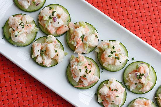 Shrimp Salad on Cucumber Slices | Skinnytaste