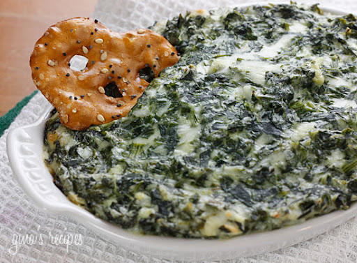 spinach dip and chips. Hot, cheesy, spinach dip,