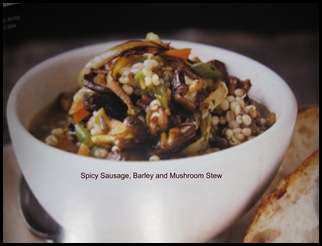 spicy sausage barley and mushroom stew