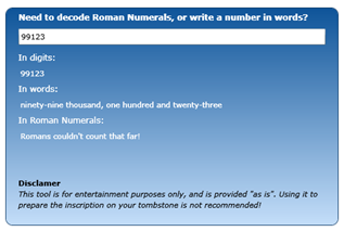Utility to decode roman numerals and spell out numbers