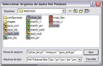 selecionar arquivos de dados Hot Potatoes