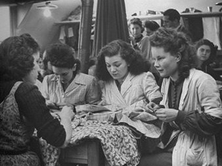 women sewing together