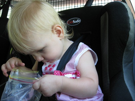 """my daughter - assessing the snack situation: """"surely they packed more snacks than this!!!"""""""