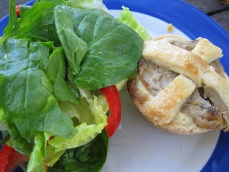 salad and mushroom pie