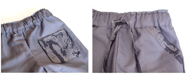 grey school pants pocket details