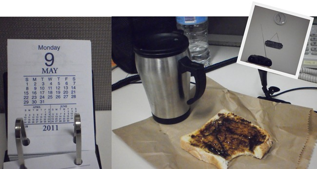 3. breakie at my desk