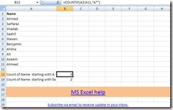 Microsoft Excel, countif example