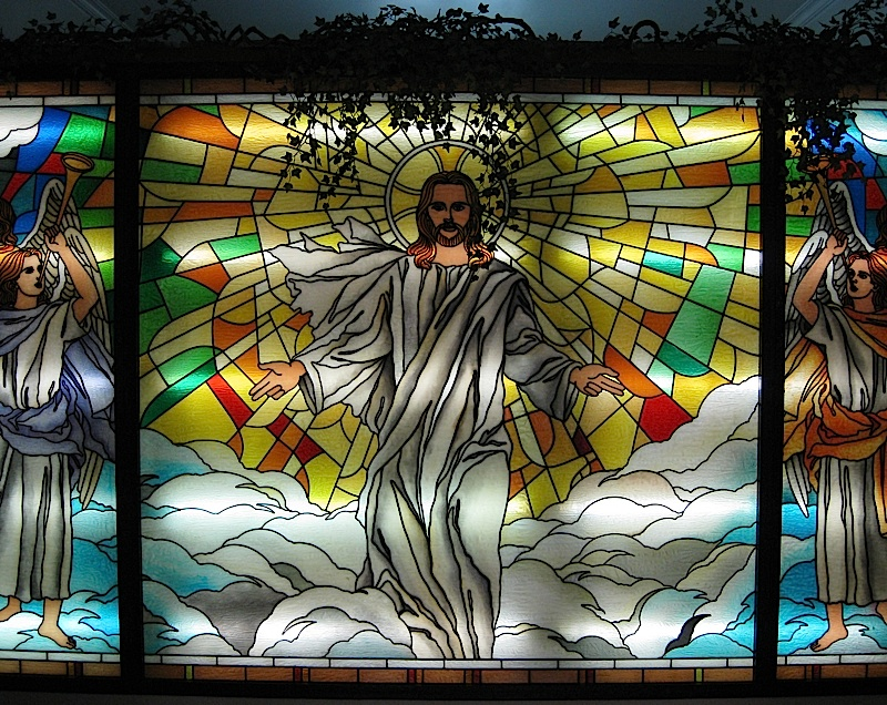 stained glass panels at the crypt of Our Lady of Mount Carmel church
