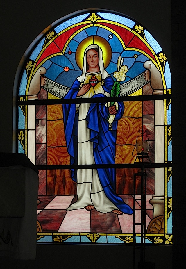 Immaculate Heart of Mary stained glass window at the Loyola Retreat House