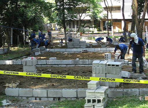 construction workers at the Ateneo de Manila University