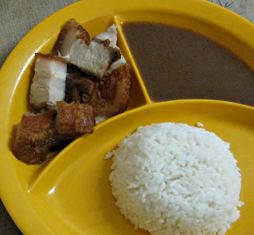 lechon kawali with liver sauce and rice