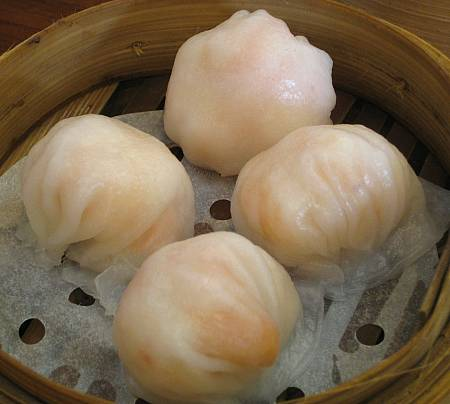 hakaw or har gau: steamed shrimp dumplings