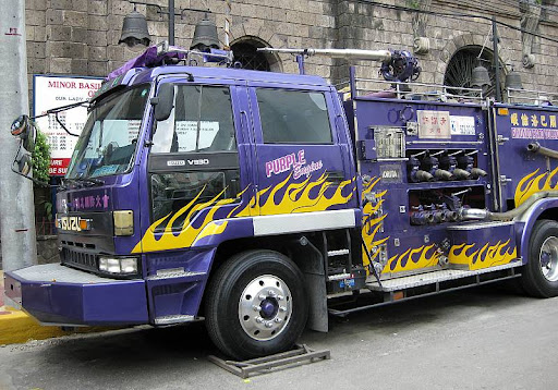 purple fire truck in Binondo