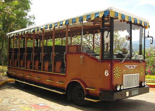 Sun Cruises' tour bus designed to look like a tram used in the Corregidor Island tours