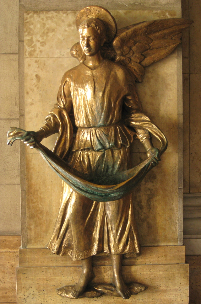 holy water font of the Manila Cathedral shaped like an angel