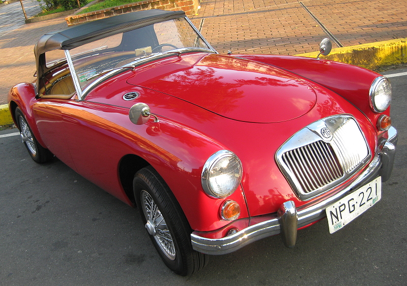 red convertible MG
