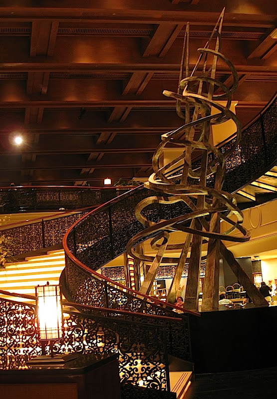 spiral staircase and sculpture of Sofitel Philippine Plaza's Spiral restaurant