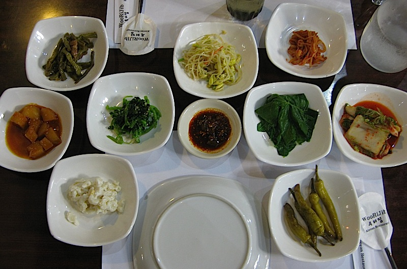 appetizers at Woo Ri Jib Korean restaurant