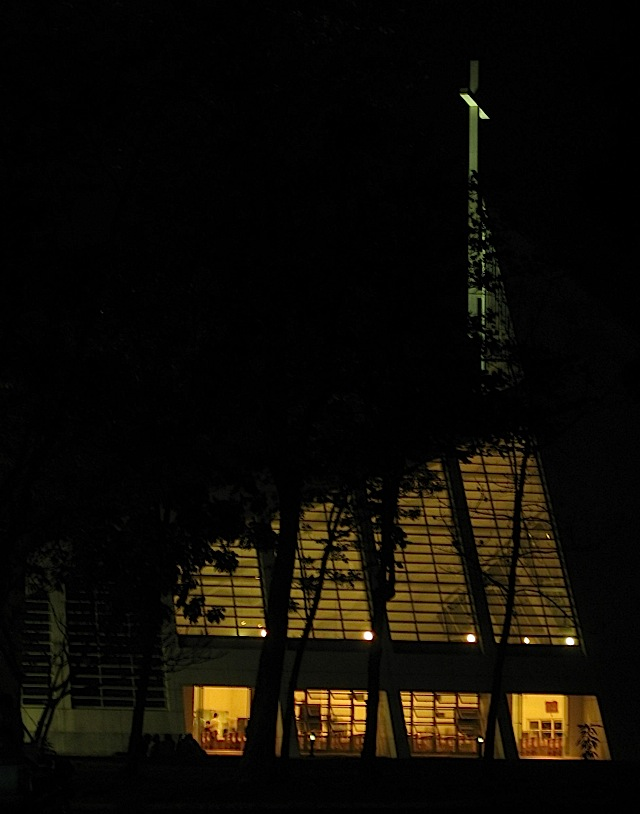 the Ateneo Church of the Gesù at night