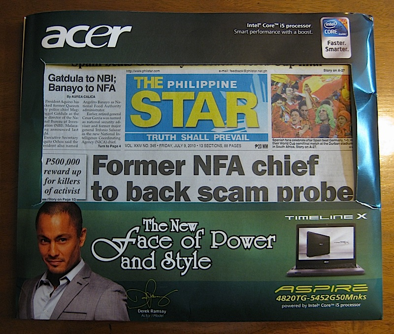 PhilStar newspaper in a special Acer advertising envelope