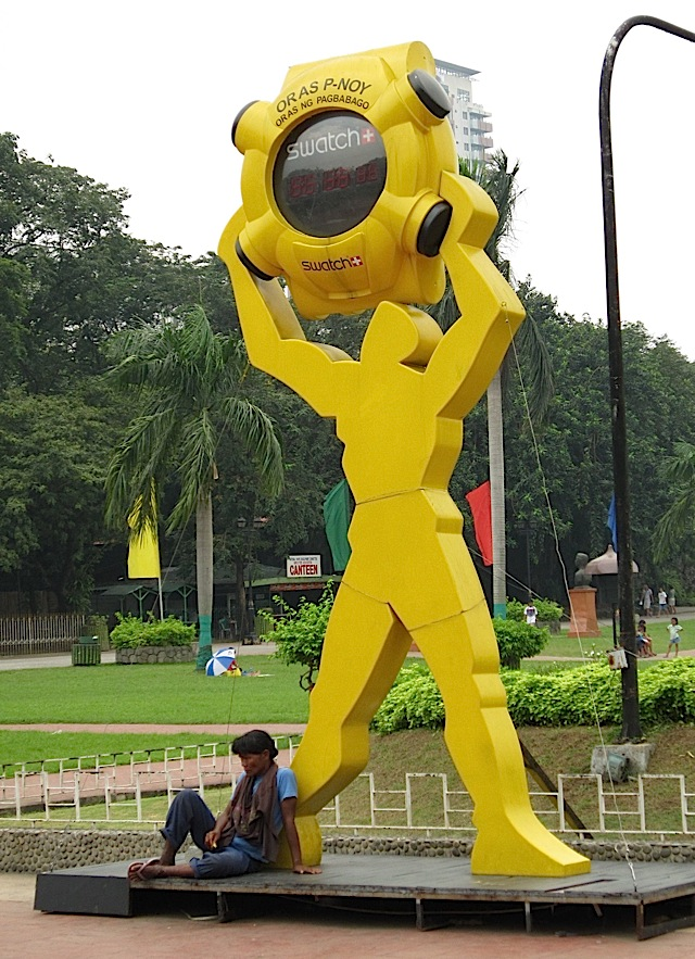 large P-Noy Swatch watch in Rizal Park