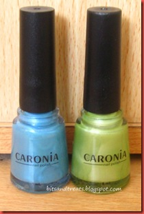 caronia nail polish in bliss and mint frost, by bitsandtreats