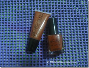 four east brown lip gloss and nail polish