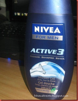nivea for men active 3 showerl gel shower, shampoo, shave, by bitandtreats