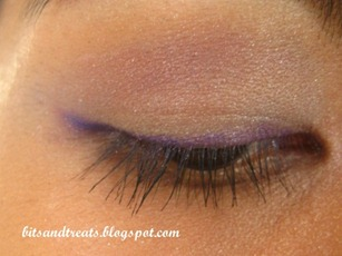 eotd purple nichido eye liner with face shop eye shadow, by bitsandtreats