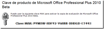 Después de instalar Microsoft Office Professional Plus 2010 Beta