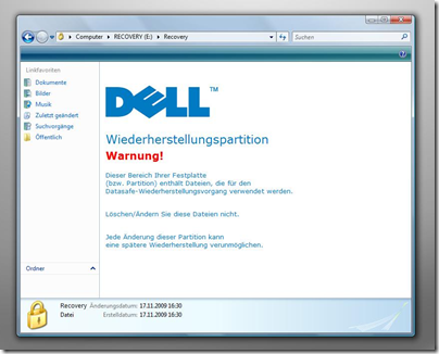 Dell Wiederherstellungspartition