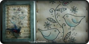 collage uccellini stitchery