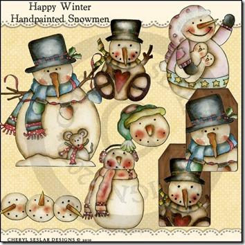 happywinterhandpaintedsnowmen