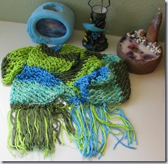 stitchesbyjulie green and blue seascape accent scarf