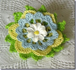 jnoriginals spring graden crochet thread flower brooch