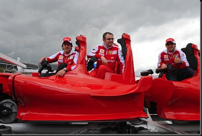 Fernando Alonso, Stefano Domenicali, Felipe Massa (left to right)