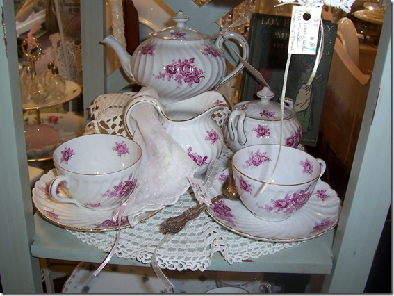 pink and white tea set