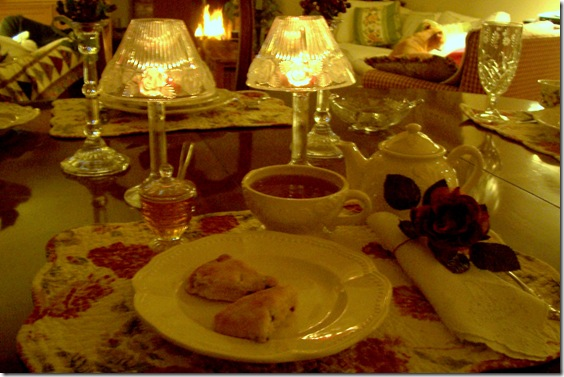 tea for one with scones and candles