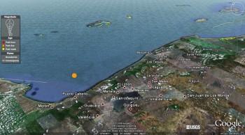 Epicentro del sismo en Venezuela del 12/09/09.