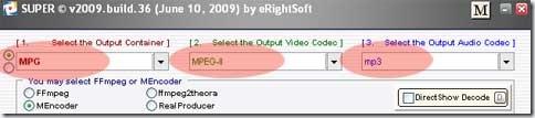 Opciones para convertir vídeo en MPG con Super©