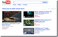 Aspecto de la web YouTube